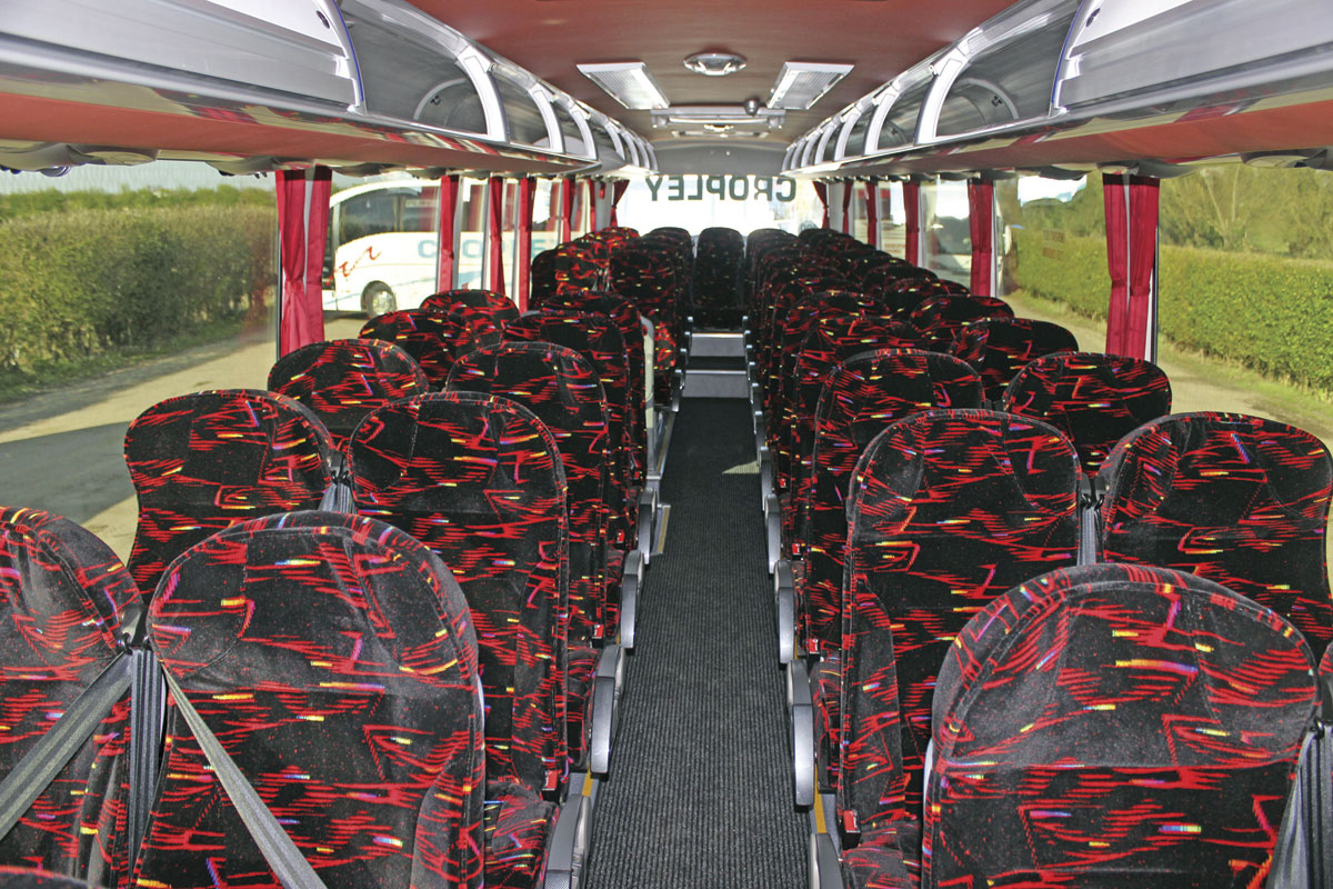 The interior of the latest Euro6 TC12 has the same moquette John specified in his first Yutong TC12